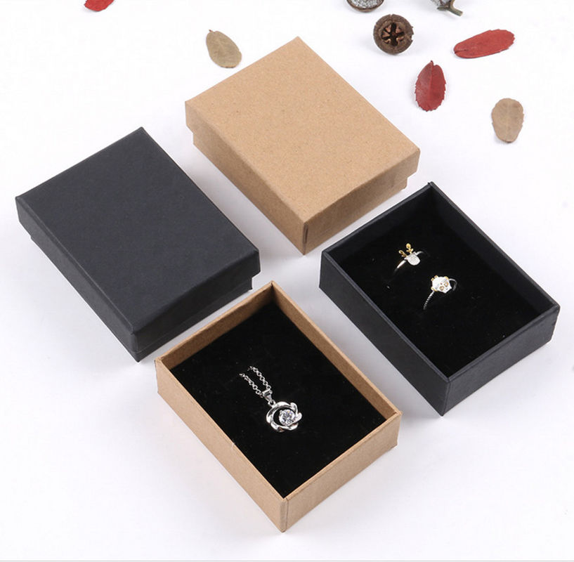 Brown & Black Corrugated Paper Box Jewelry Packing For Valentine'S Day Gift